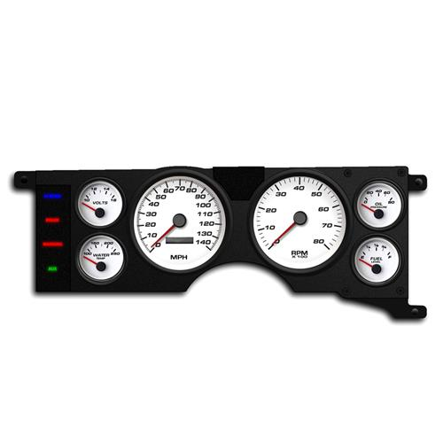 New Vintage USA Mustang Performance Gauge Cluster  - White (79-86) 79111-03