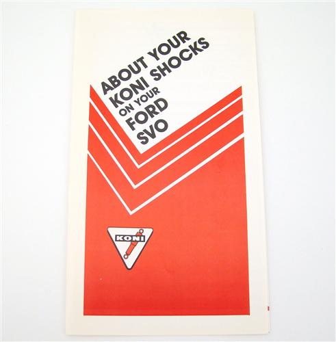 Mustang SVO Koni Shock Supplement/Pamphlet  (85-86)