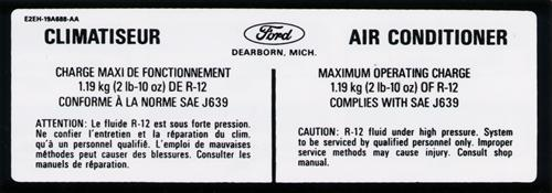 Mustang A/C Refrigerant Charge & Pressure Decal (82-89)