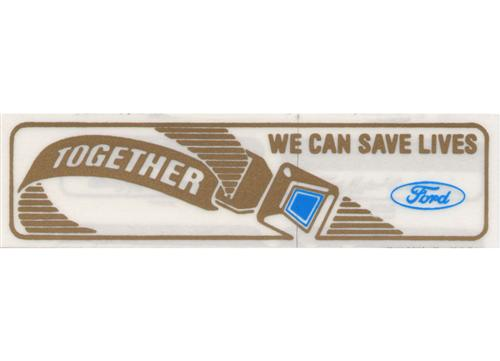 Mustang Together We Can Save Lives Seat Belt Window Decal (86-92)