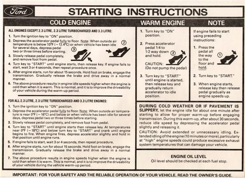 Mustang Starting Instructions Sun Visor Sleeve (82-83)