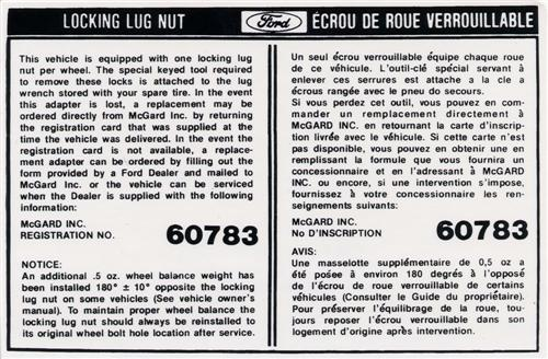 Mustang Locking Lug Nut Info Decal (82-85)