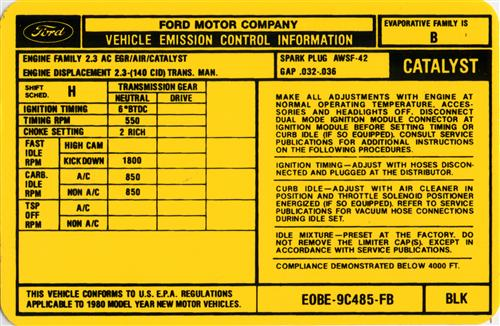 Mustang 5-Speed Emission Decal (1980) 2.3L