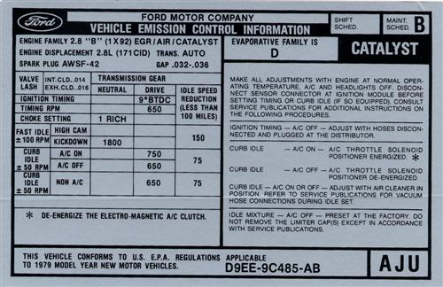 Mustang Automatic Emissions Decal (1979) V6 2.8