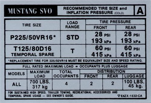 Mustang SVO Tire Pressure Decal (84-85)