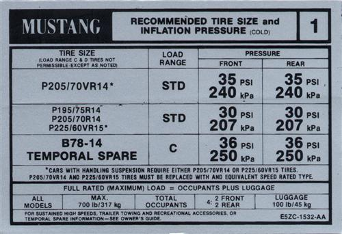 Mustang Tire Pressure Decal (1985)