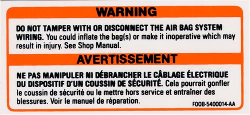 Mustang Air Bag Warning Decal (90-93)