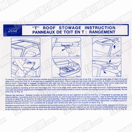Mustang T-Top Stowage Instruction Sun Visor Sleeve (81-88)