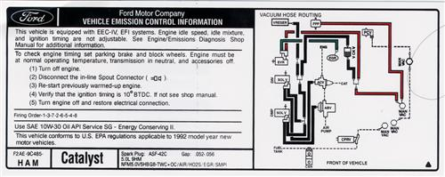 Mustang Emissions Decal - 5 Speed (1993) 5.0