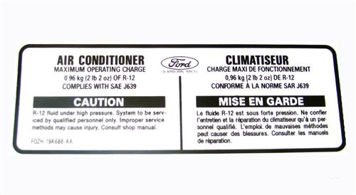 1990 1991 1992 1993 FORD MUSTANG AIR CONDITIONER MAX OPERATING CHARGE DECAL