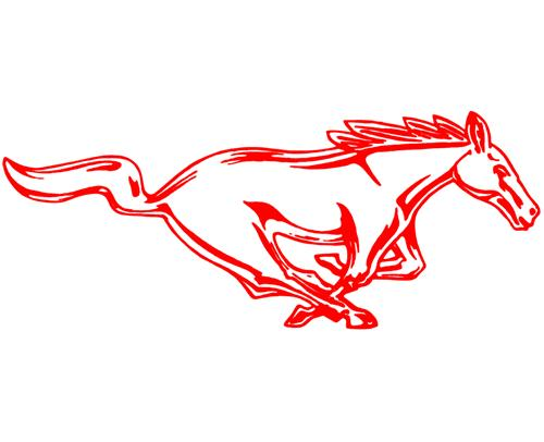 "Mustang 12"" Running Pony Decal RH Red"