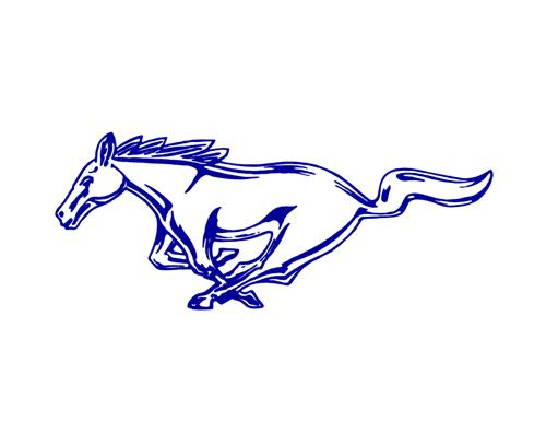 "Mustang 8"" Running Pony Decal LH Blue"
