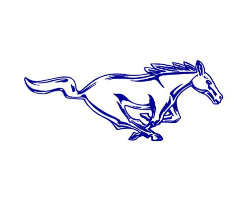 "Mustang 8"" Running Pony Decal RH Blue"