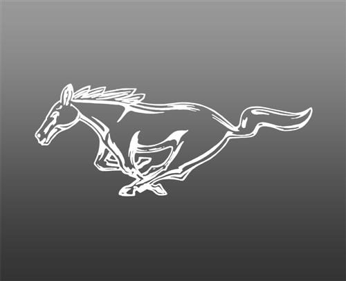 "Mustang 8"" Running Pony Decal LH White"