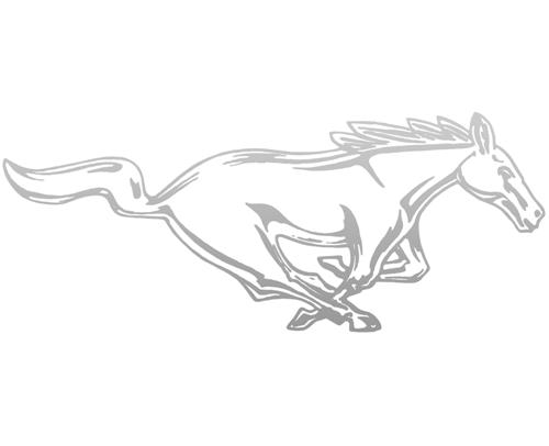 "Mustang 12"" Running Pony Decal RH Silver"