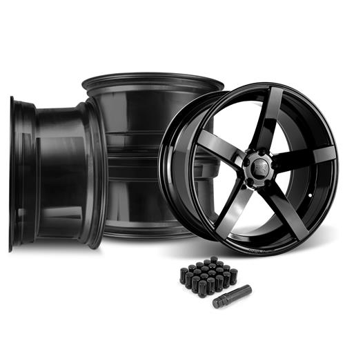 Rovos Mustang Durban Wheel & Lug Nut Kit - 20x8.5/10 Gloss Black (05-14)