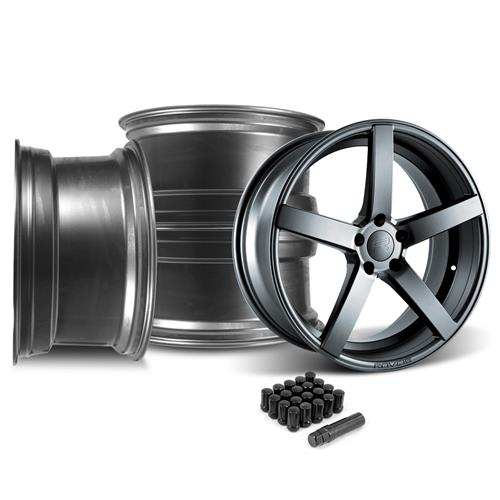 Rovos Mustang Durban Wheel & Lug Nut Kit - 20x8.5/10 Satin Gunmetal (15-16)