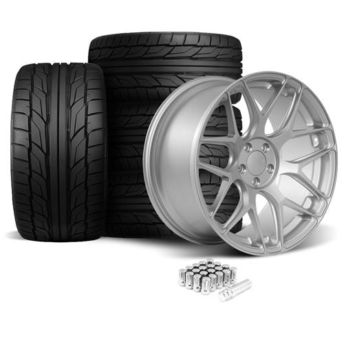 Rovos Mustang Pretoria Wheel & Tire Kit 20x8.5/10  - Satin Silver - NT555 G2 Tires (05-14)