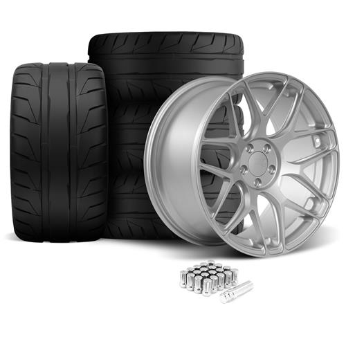Rovos Mustang Pretoria Wheel & Tire Kit 20x8.5/10  - Satin Silver - NT05 Tires (05-14)