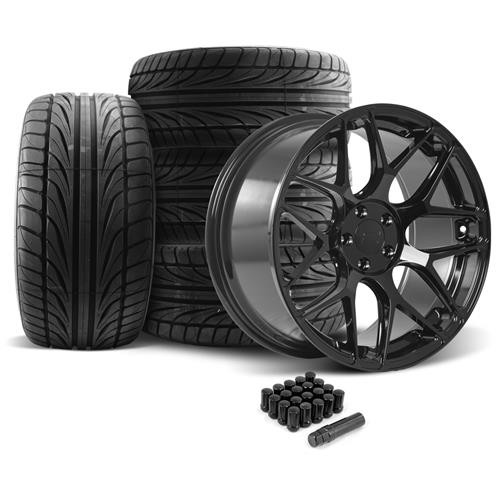 Rovos Mustang Pretoria Wheel & Tire Kit 20x8.5/10  - Gloss Black - Ohtsu Tires (05-14)