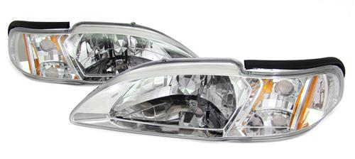 SVE Mustang One Piece Headlight Kit Clear/Chrome (94-98)