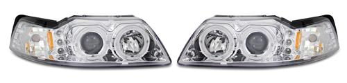 Mustang Projector LED Halo Headlight Kit Chrome (99-04)