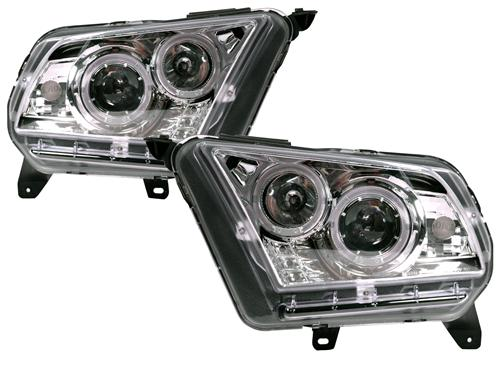 SVE Mustang Projector Headlights Clear Chrome (10-12)