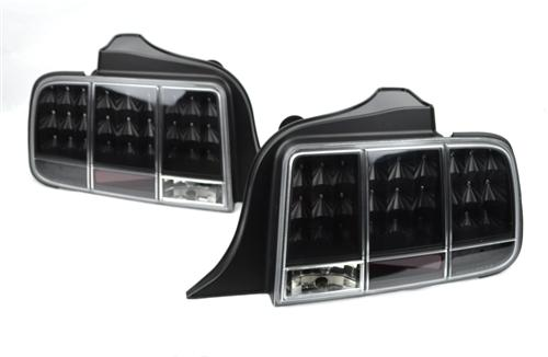 Mustang Led Tail Lights - Sequential Black  05-09