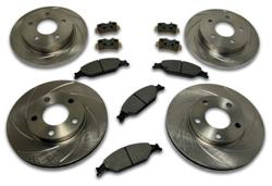 99-04 MUSTANG GT/V6 COMPLETE SLOTTED SHORT STOP BRAKE ROTOR AND PAD KIT