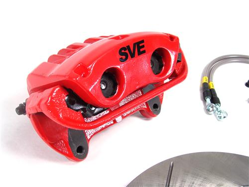 "SVE Mustang 13"" Cobra Style Front Brake Kit w/ Slotted Rotors Red (94-04)"