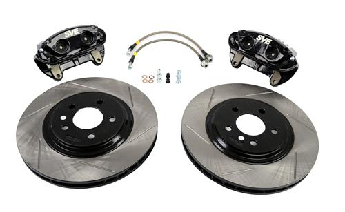 "SVE Mustang 13"" Cobra Style Front Brake Kit w/ Slotted Rotors Black (94-04)"