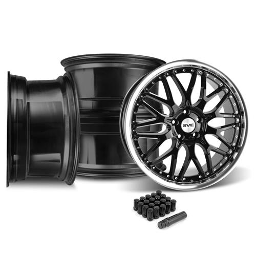 SVE Mustang Series 3 Wheel & Lug Nut Kit - 20x8.5 Gloss Black (15-16)