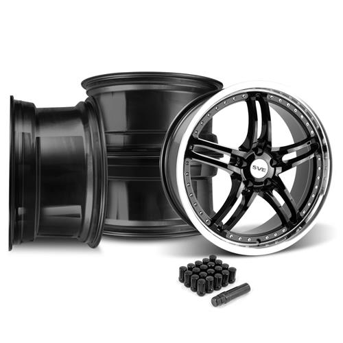 SVE Mustang Series 2 Wheel & Lug Nut Kit - 20x8.5/10 Black w/ Machined Lip (15-16)