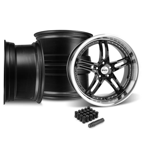 SVE Mustang Series 2 Wheel Kit - 20X8.5/10 Black w/ Mirror Lip (05-14)