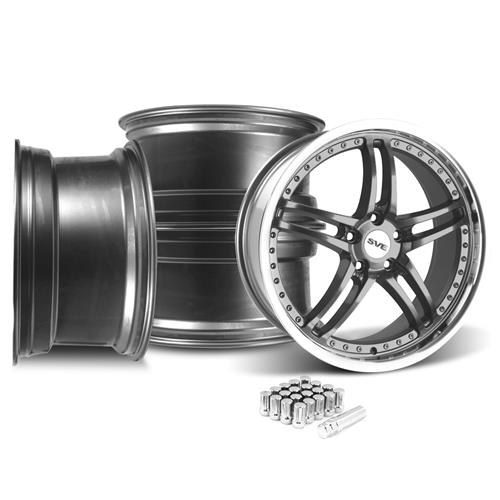 SVE Mustang Series 2 Wheel & Lug Nut Kit - 20X8.5/10 Gun Metal w/ Machined Lip (15-16)