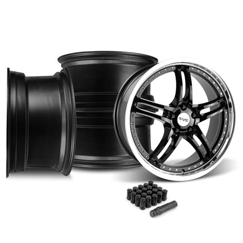 SVE Mustang Series 2 Wheel & Lug Nut Kit - 20x8.5 Black w/ Mirror Lip (05-14)