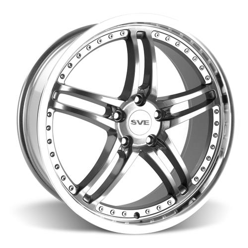 SVE Mustang Series 2 Wheel & Lug Nut Kit - 20x8.5 Gun Metal w/ Machined Lip (15-17)