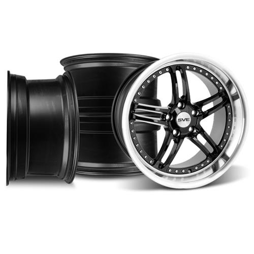 SVE Mustang Series 2 Wheel Kit -18x9/10 Black w/ Polished Lip (94-04)
