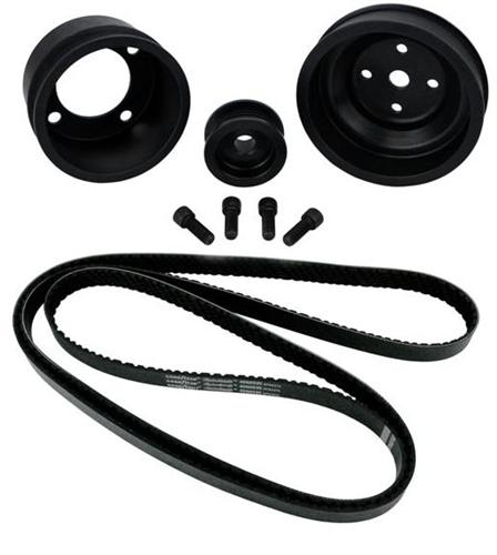 1987-1993 SVE Mustang Aluminum Underdrive Pulley An Goodyear Gatorback Belt Kit Black