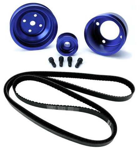 1987-1993 SVE Mustang Aluminum Underdrive Pulley An Goodyear Gatorback Belt Kit Blue - Picture of 1987-1993 SVE Mustang Aluminum Underdrive Pulley An Goodyear Gatorback Belt Kit Blue
