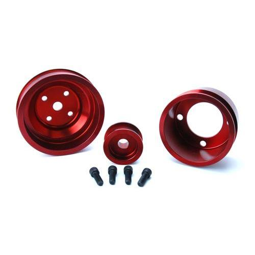 SVE Mustang Aluminum Underdrive Pulley Kit Red (79-93) GT 5.0L