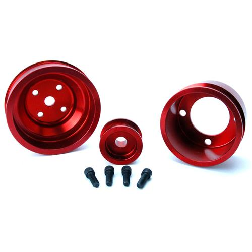 SVE Mustang Underdrive Pulley & Gatorback Belt Kit  Red (87-93)