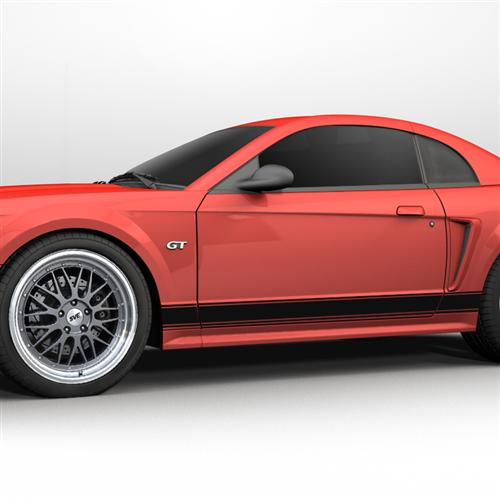 1999-2004 Mustang Rocker Stripes, No Logo Gloss Black  Get with Oliver for Picture