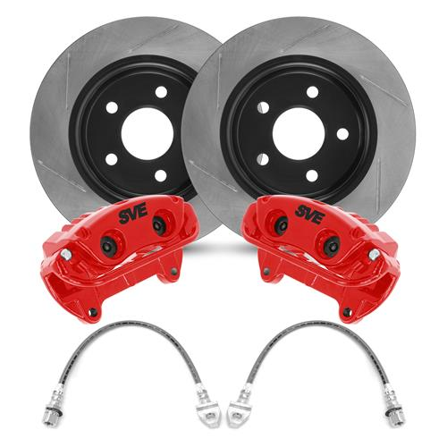"SVE Mustang 13"" Cobra Style Front Brake Kit w/ Slotted Rotors  - Red (94-04)"