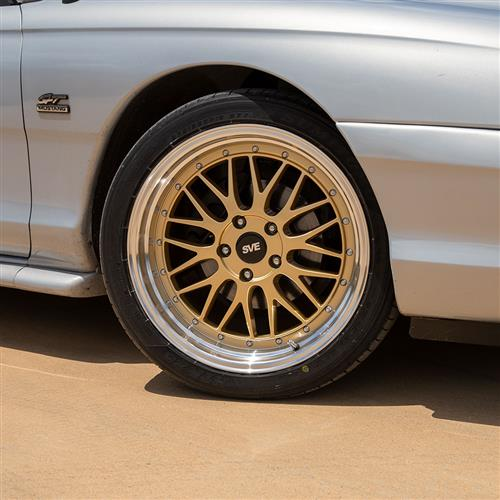 SVE Mustang Series 1 Wheel & Tire Kit - 18x9/10  - Liquid Gold (94-04) Sumitomo HTR Z5