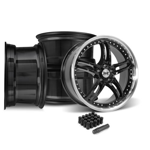 SVE Mustang Series 2 Wheel & Lug Nut Kit - 20x8.5 Black w/ Machined Lip (05-14)
