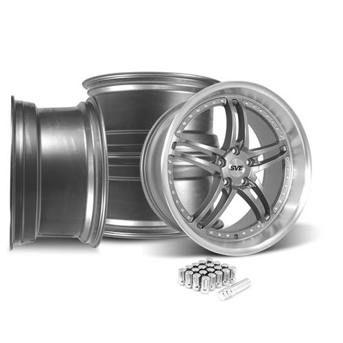 SVE Mustang Series 2 Wheel & Lug Nut Kit - 20x8.5 Gun Metal w/ Machined Lip (05-14)