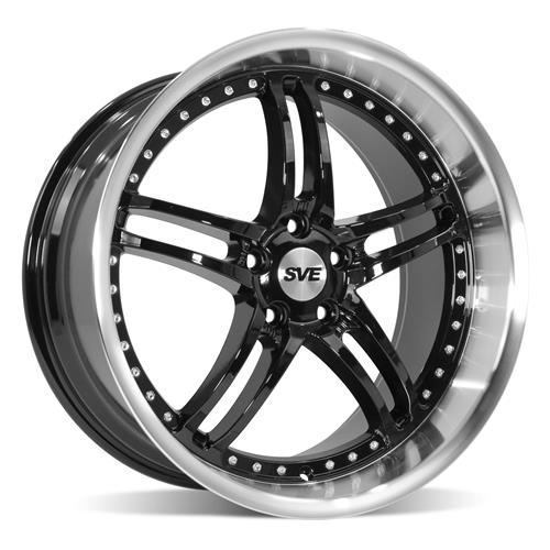 SVE Mustang Series 2 Wheel & Tire Kit - 20x8.5/10 Black w/ Machined Lip (15-18) Nitto Invo