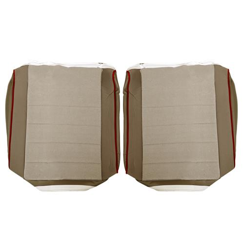 TMI Mustang Cloth Seat Upholstery - Sport Seats  - Sand Beige w/ Red Piping (85-86) Hatchback 43-75624-544-543-57W