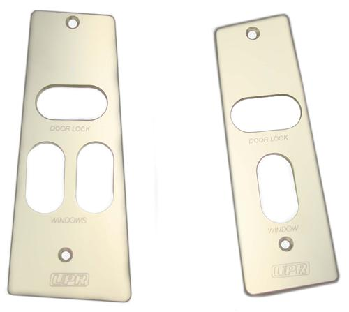 UPR Mustang Billet WIndow Switch Plates w/ Logo Polished (87-93) 1037-87-03